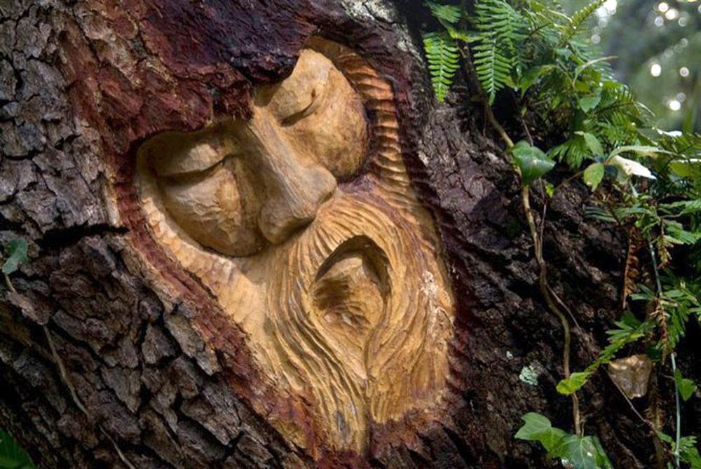Морды вырезанные на дереве фото
