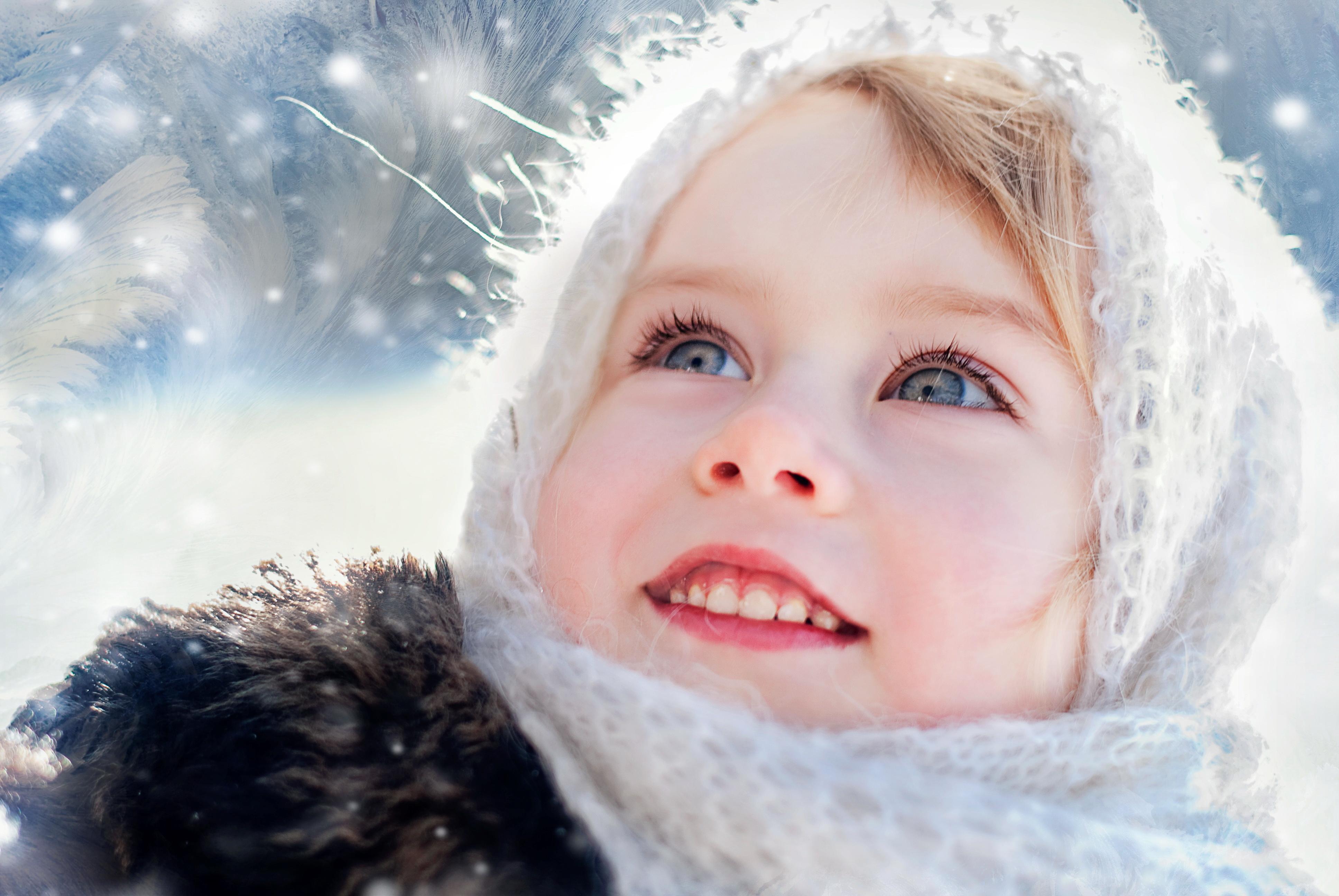 Открытки, зимняя картинка с ребенком