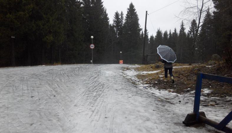 """Трассу """"Фонтаны"""" петрозаводчанам пришлось открывать без лыж (фото)"""