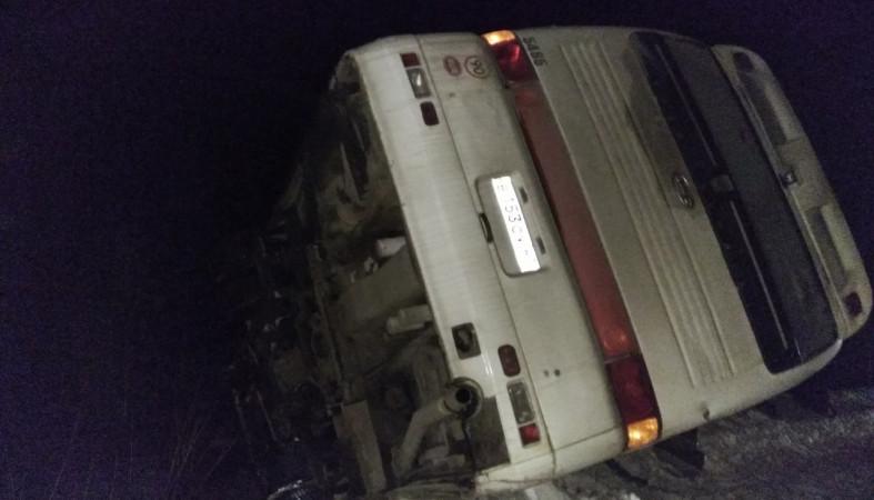 Автобус слюдьми перевернулся вКарелии